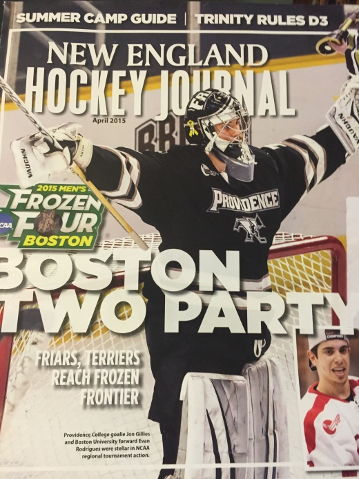 Gillies appears on the April cover of New England Hockey Journal after leading his team to the NCAA championship game for the first time since 1985. (Getty)