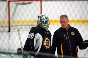 Zane McIntyre and Bruins goalie coach Bob Essensa (Photo courtesy of Alison M. Foley)