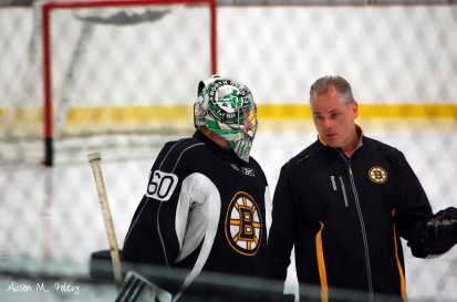 Zane McIntyre and Bruins goalie coach Bob Essensa (Photo courtesy of Alison M. Foley)