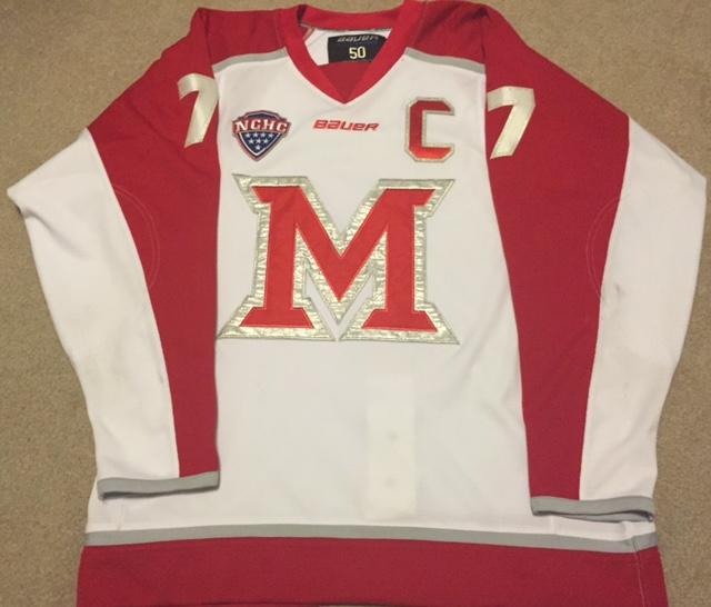 Austin Czarnik's 2013-14 Miami University Redhawks captain sweater (Kirk Luedeke photo)