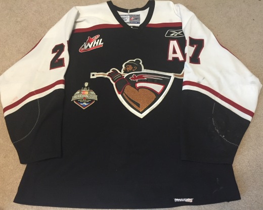 Milan Lucic's Vancouver Giants away sweater worn in the 2007 Memorial Cup tournament (Kirk Luedeke photo)