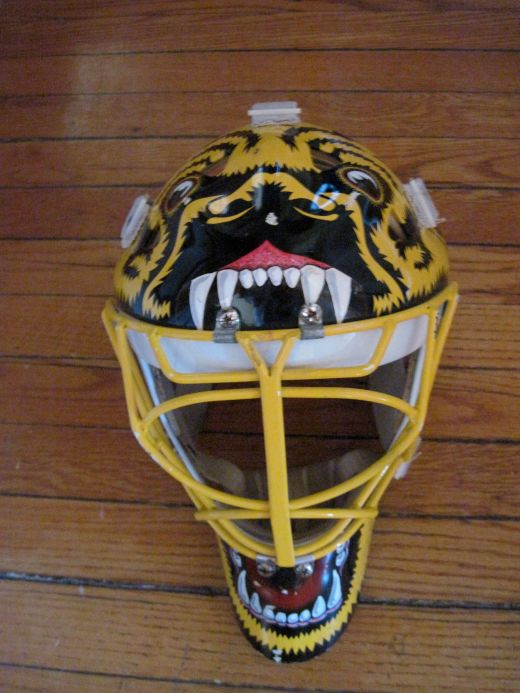 Andy Moog's signature Bruins mask, made by Middleton, Mass. mask maker Dom Malerba of Pro's Choice (Kirk Luedeke photo)