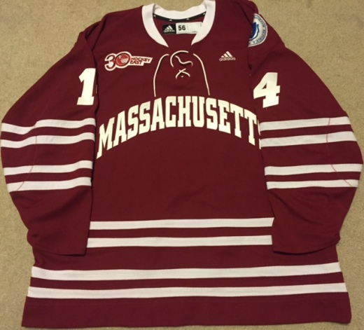 Frank Vatrano's UMass Minutemen sweater from 2013-14 (Kirk Luedeke photo)