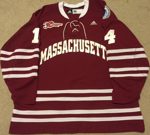 Frank Vatrano's UMass Minutemen sweater from 2013-14 (Kirk Luedeke photo)