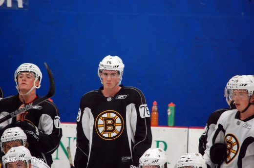 Rob O'Gara looks on during an on-ice session at the 2014 Boston Bruins development camp (Photo courtesy of Alison M. Foley)