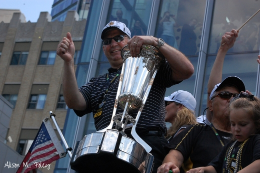 Claude Julien (and family) riding the Boston Duck Boats at the 2011 Stanley Cup victory parade (Photo courtesy of Alison M. Foley)