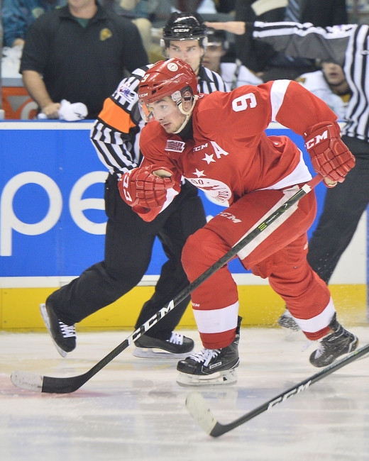 Zachary Senyshyn of the Sault Ste. Marie Greyhounds. Photo by Terry Wilson / OHL Images.