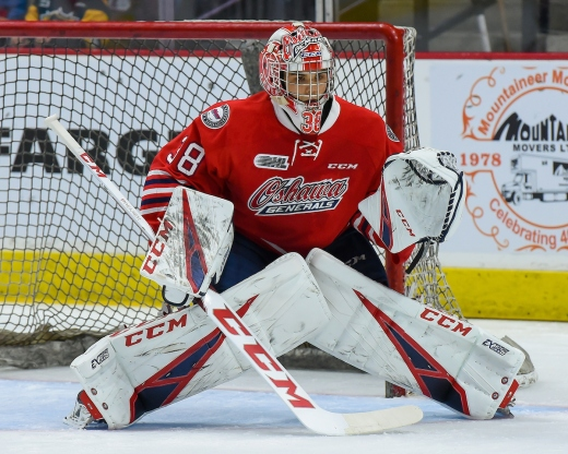 Goalie #38 Kyle Keyser of the Oshawa Generals